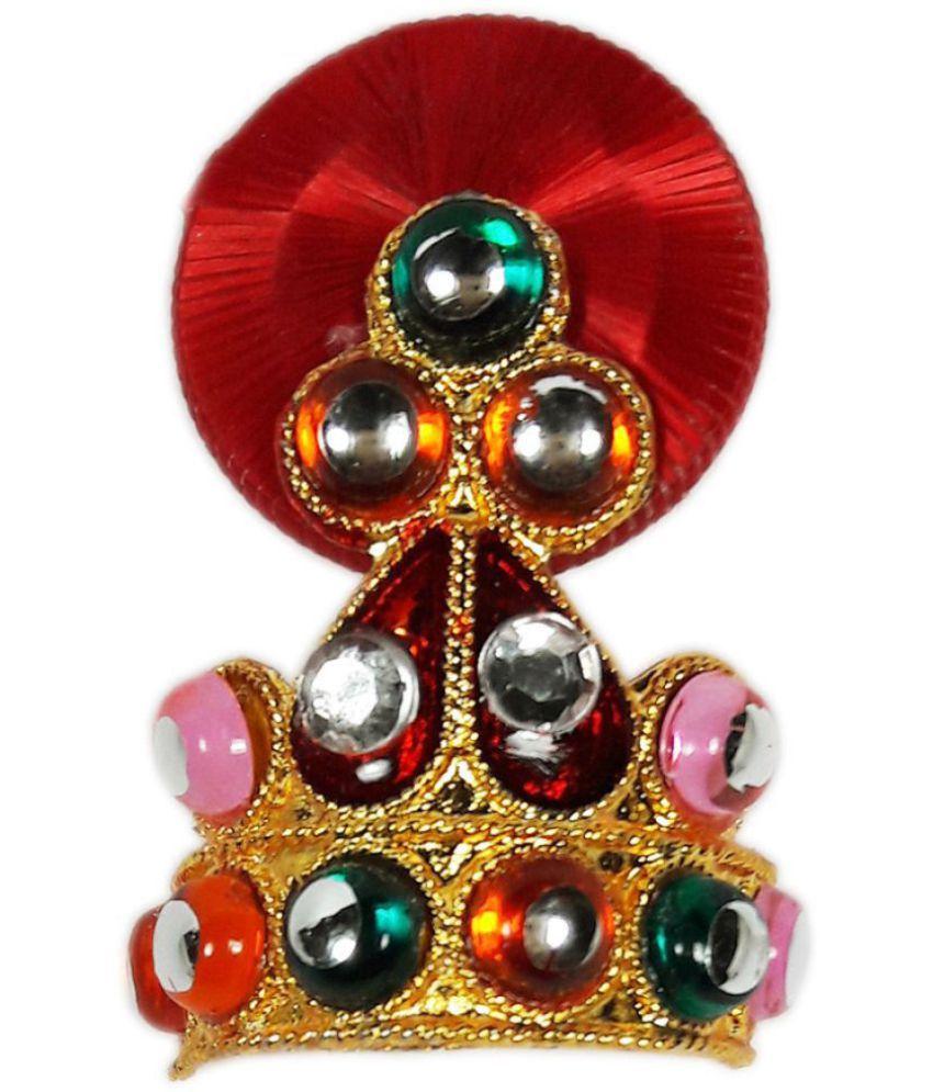 Laddu Gopal Multicolor Stone Bead With Red Wheel Mukut-1.5x1x0.5 Inches, Mukut for Krishna, Krishna Janmashtami Shringar