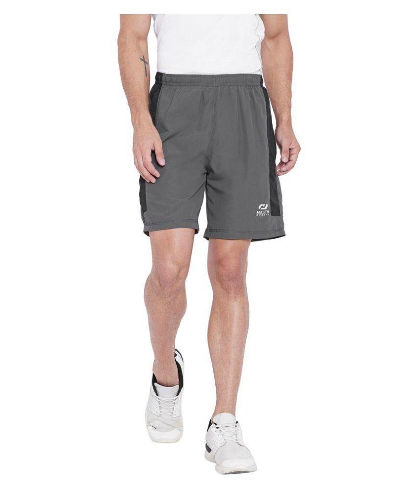 Masch Sports Mens Regular Fit Dark Grey Soft Polyester Sports Shorts- Active Wear, Sports Wear & Gym Wear Shorts For Men