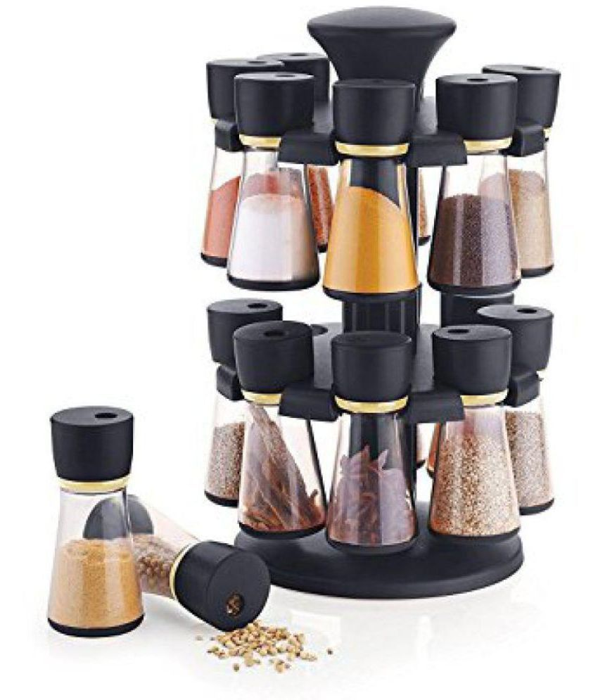SRK Internationals 16-Jar Black Revolving Polyproplene Spice Container Set of 11-20