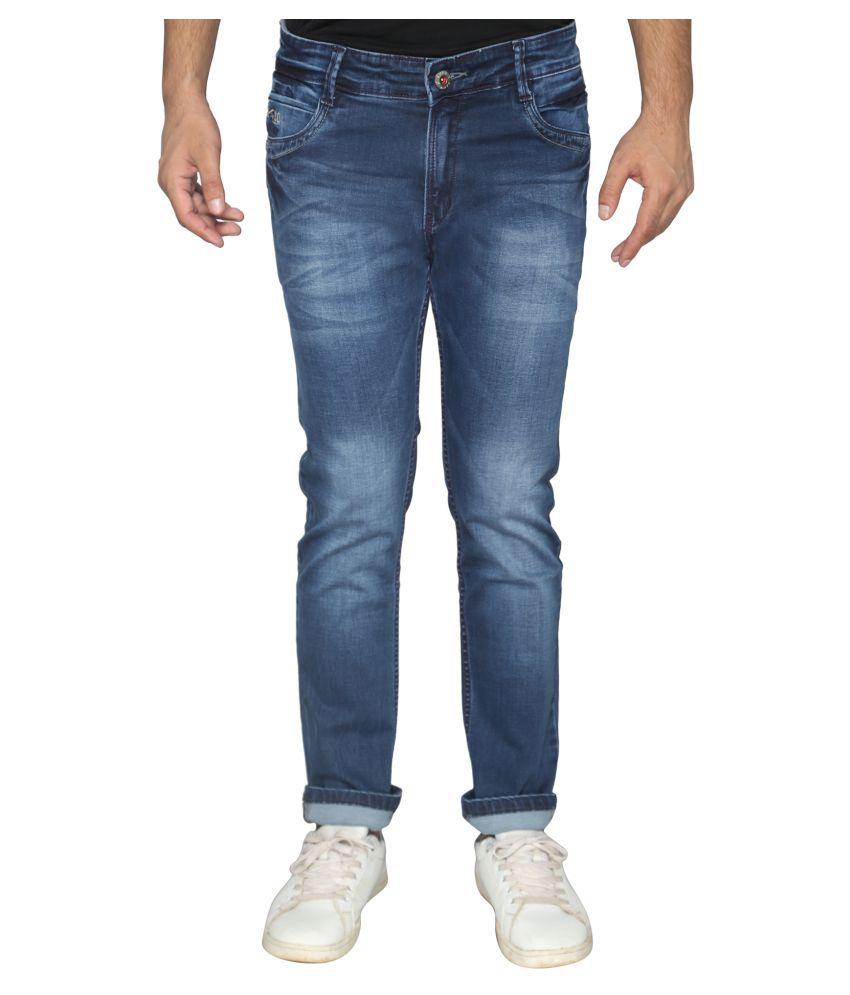 Ripped Denim Blue Slim Jeans
