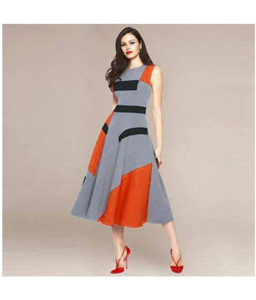 Awesome Fa Crepe Grey Fit And Flare One Piece Midi Western