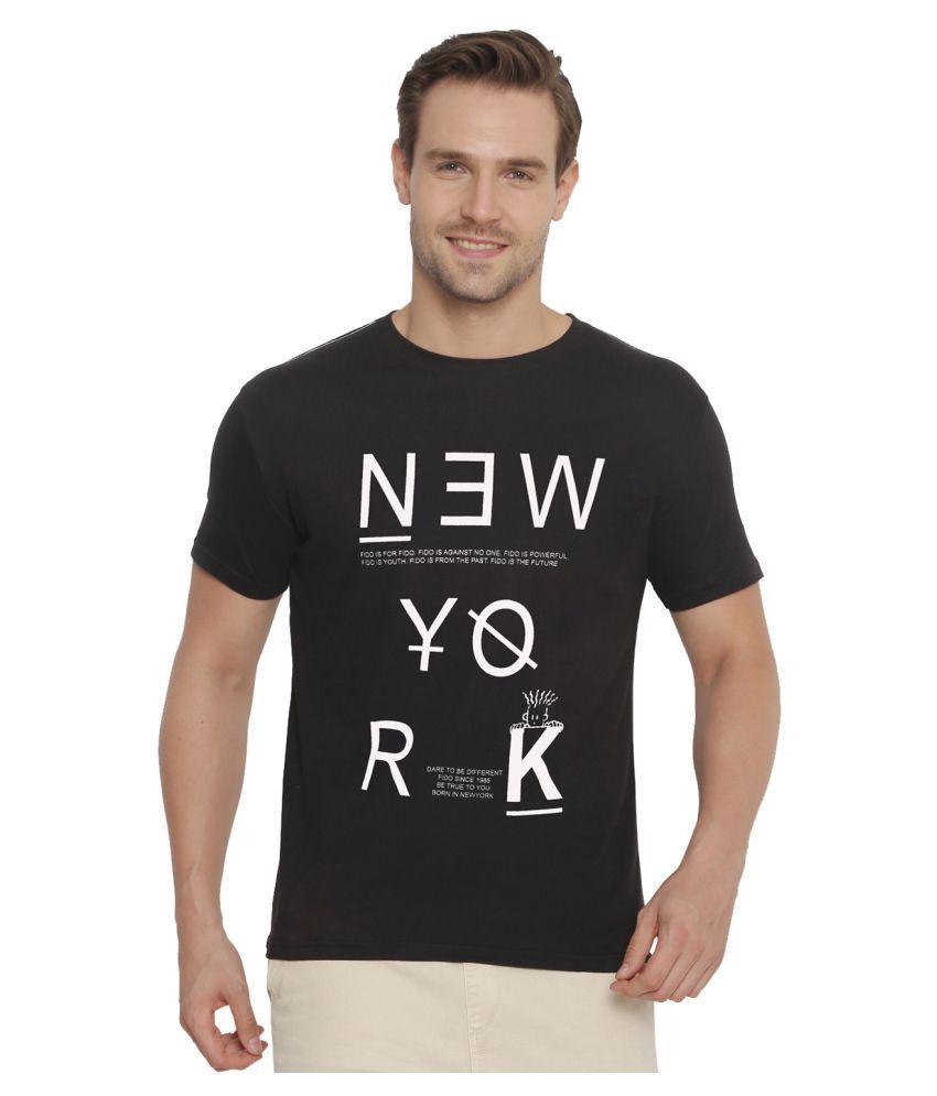 FIDO DIDO Black Half Sleeve T-Shirt Pack of 1