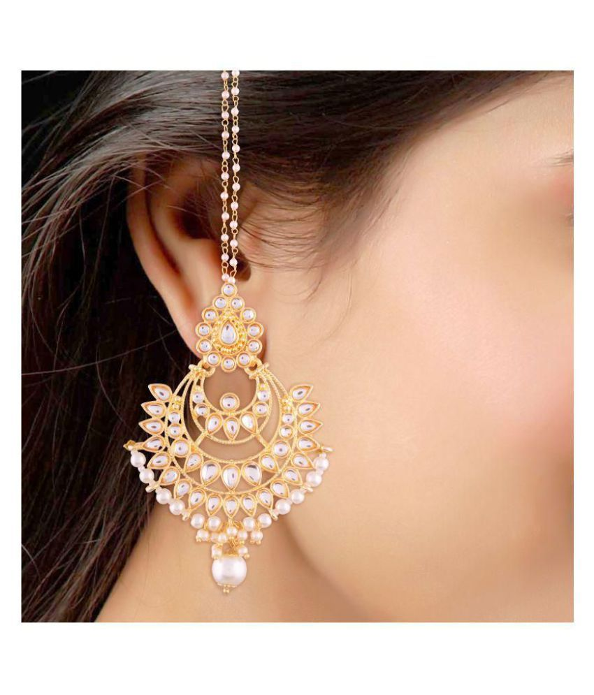 I Jewels Gold Plated Kundan Pearl Chandbali Earring With Chain For