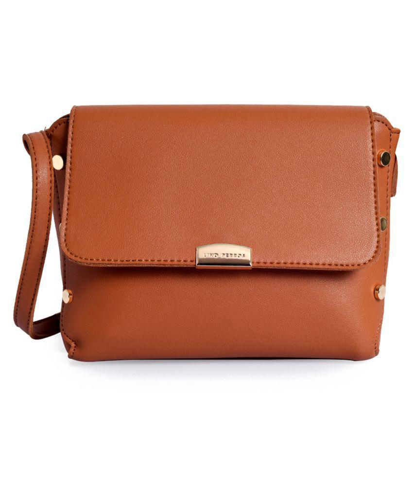 Lino Perros Tan Faux Leather Shoulder Bag