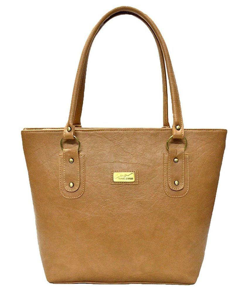 Mammon Beige Faux Leather Shoulder Bag