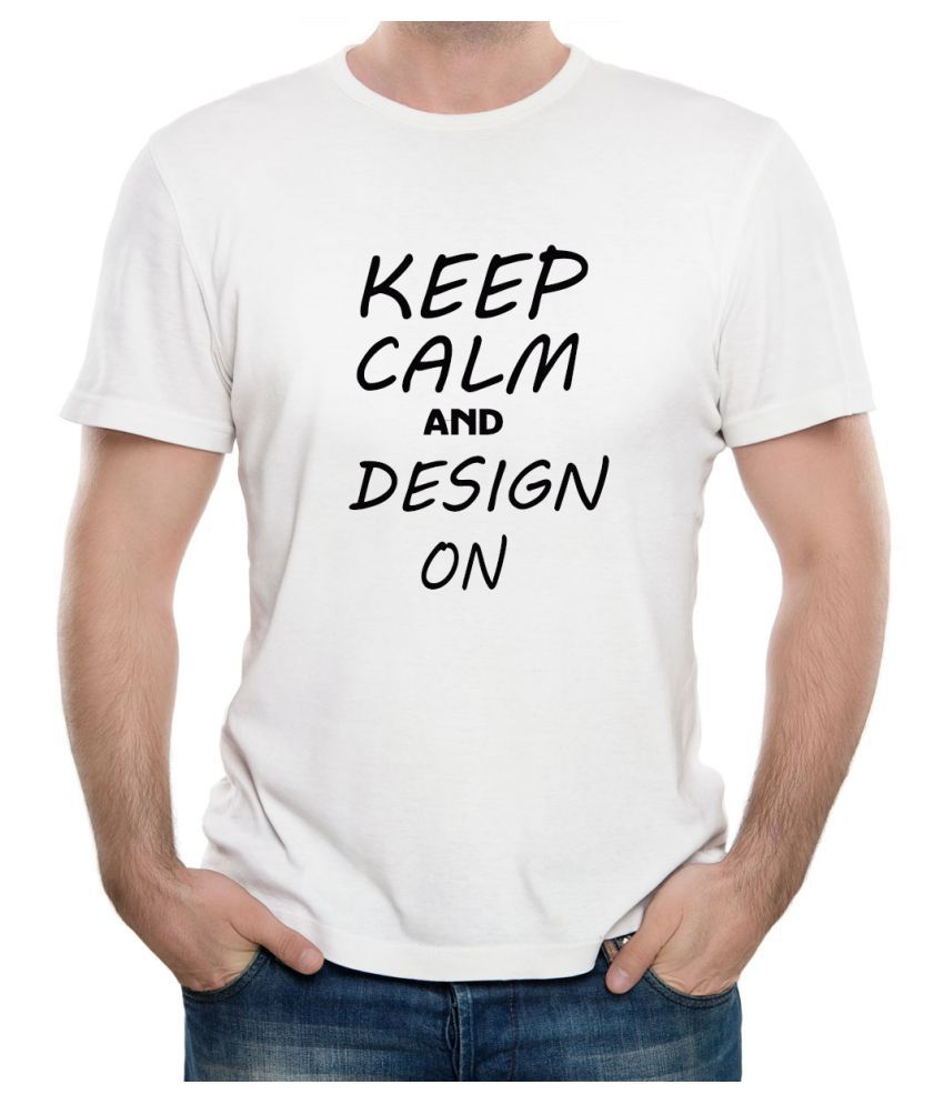 Ritzees Unisex Half Sleeve Dry Fit White Polyester T-Shirt on Keep Calm and Design On46 (XXL)