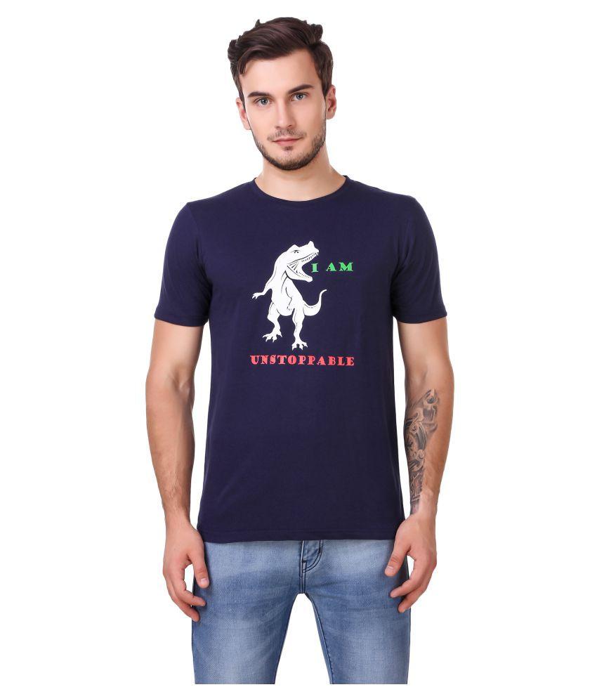 Zaambia Blue Half Sleeve T-Shirt Pack of 1