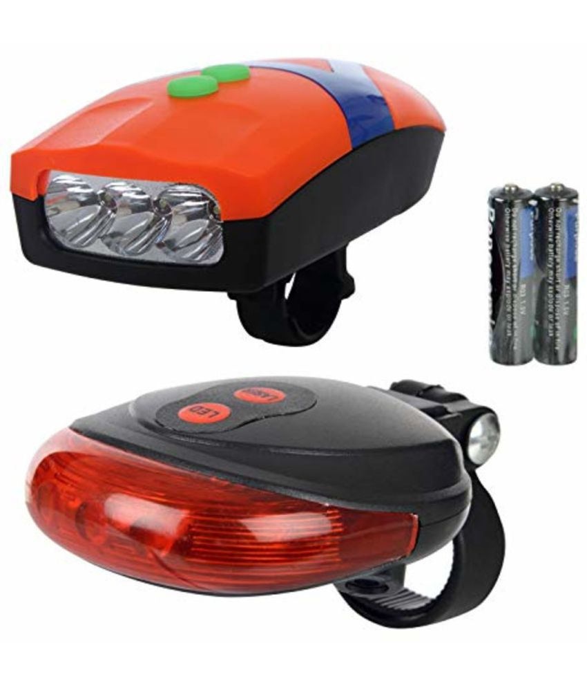Dark Horse Bicycle 3 LED 3 Mode Front Light  amp; Horn  amp; 2 Laser Beams Tail Light Combo Cycle Light