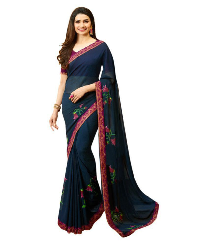 Deep Fashion Blue Georgette Saree