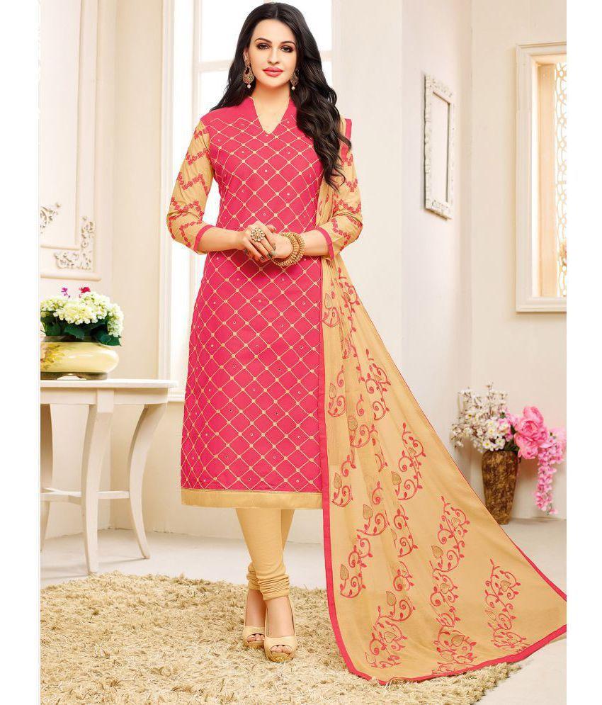 Pisara Pink Cotton Dress Material