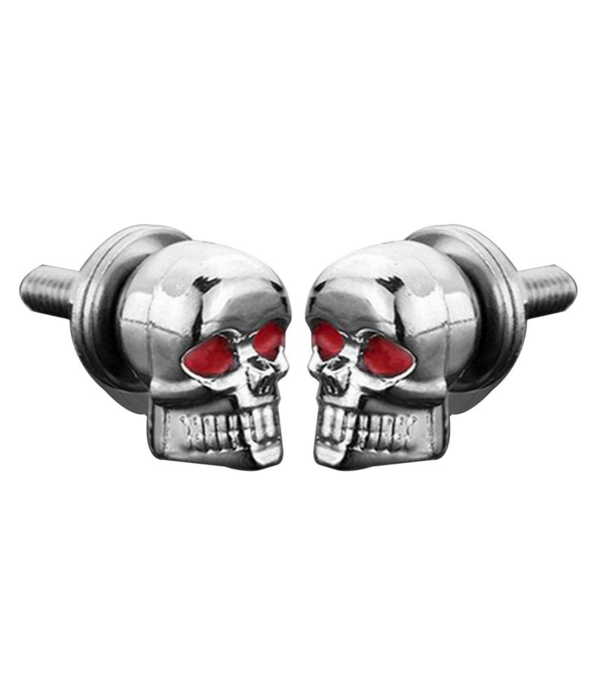 A Pair/Set Motorcycle Car Accessories Skull License Plate Frame Bolts Screw