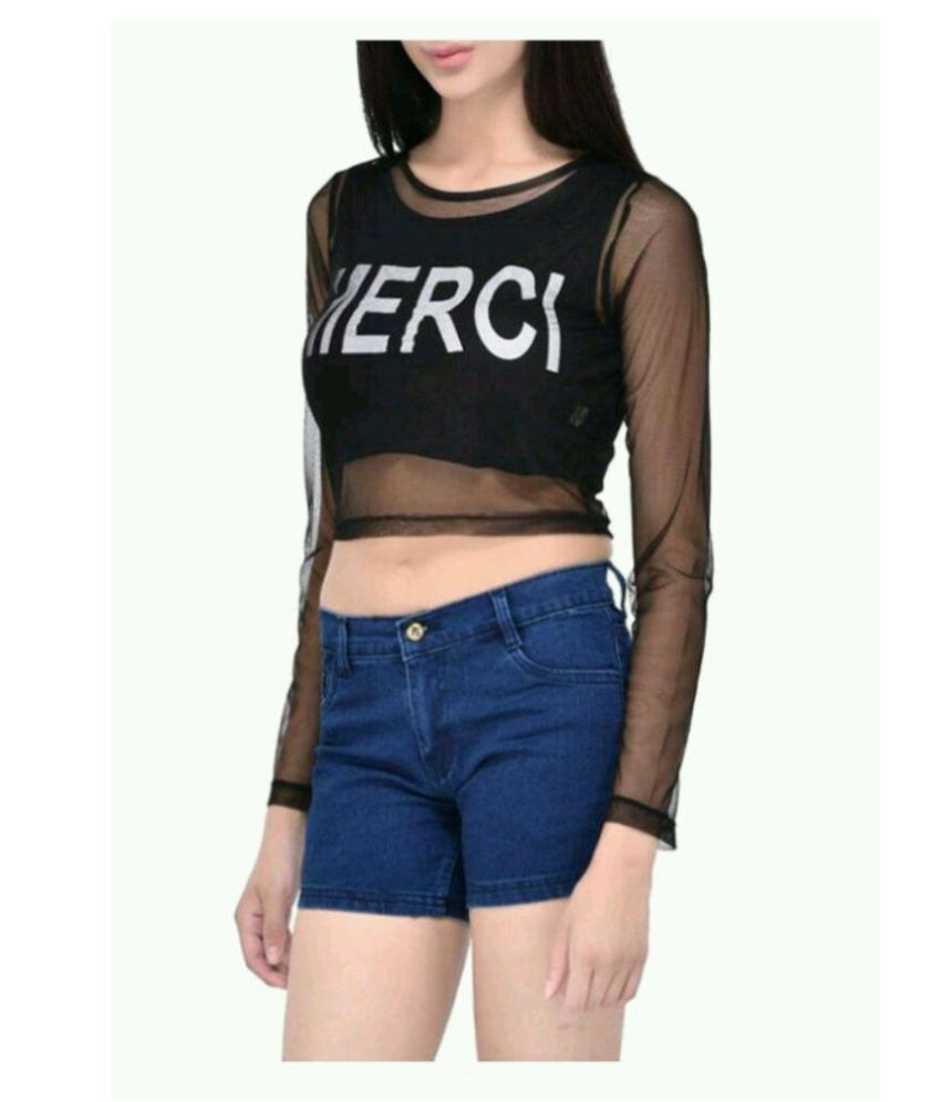 f9fb8c53cc4 Chahat Traders Poly Crepe Crop Tops - Black - Buy Chahat Traders ...