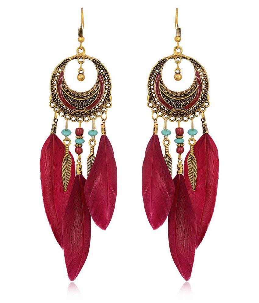 Fab Jewel Fashionable Maroon Tassel Earrings for Girls & Women