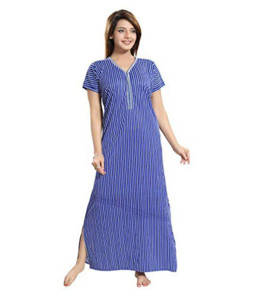 edb7bbe520 Buy TUCUTE Polyester Nighty   Night Gowns - Blue Online at Best Prices in  India - Snapdeal