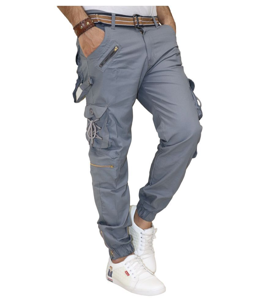 DREAM VISION Turquoise Blue Tapered -Fit Pleated Cargos