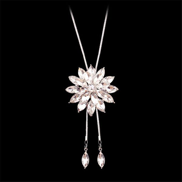 Kamalife Fashion Charm Bridal Engagement Crystal Rhinestone Snowflake Pendant Necklace Women Wedding Jewelry Gifts