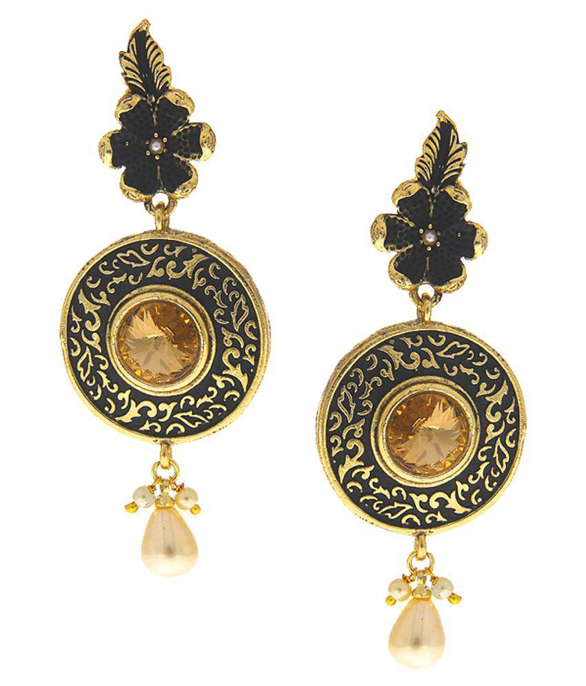 Anuradha Art Black Colour Designer Classy Long Earrings For Women/Girls