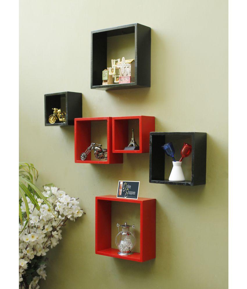 Onlineshoppee Floating Shelves Multicolour MDF - Pack of 6