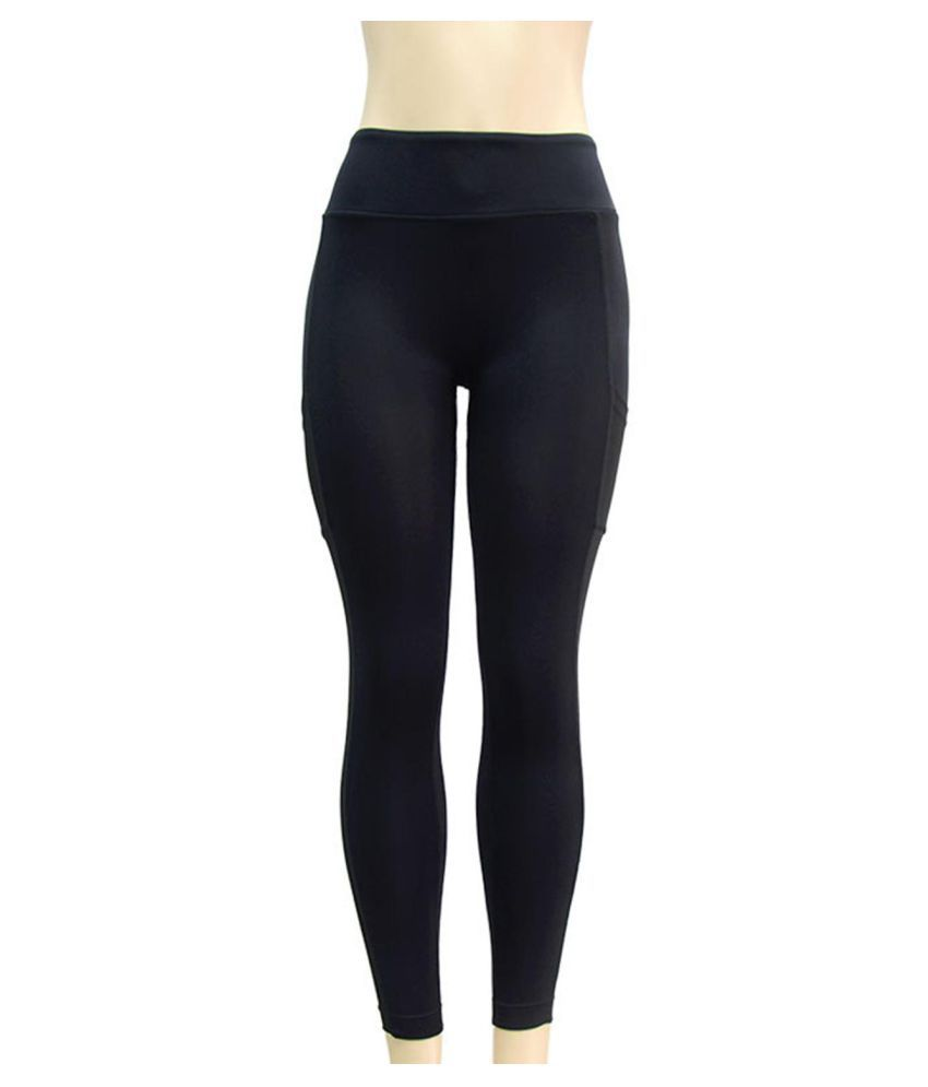 Women Yoga Pants Net Yarn Patchwork High Waist Fitness Pants with Sided Pocket