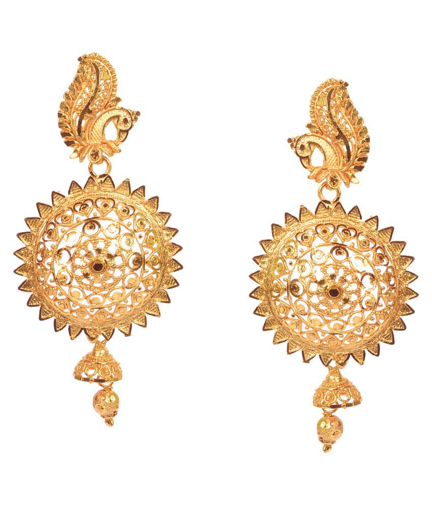 City GIRL Traditional Gold Plated Copper Drop Earrings For Girls/Women