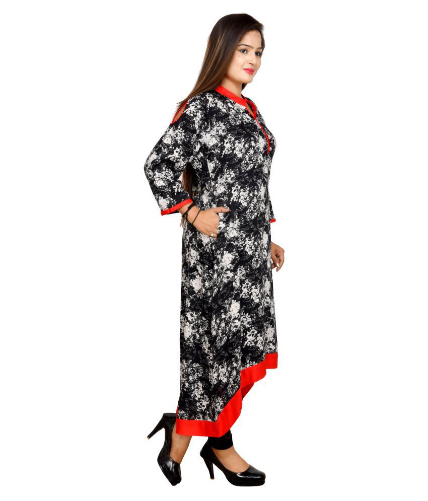 Indofashion Black Rayon Asymmetrical Hemline Kurti