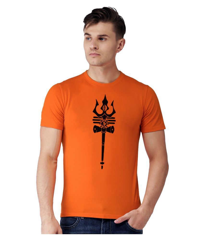 WCRIGHT Orange Half Sleeve T-Shirt Pack of 1