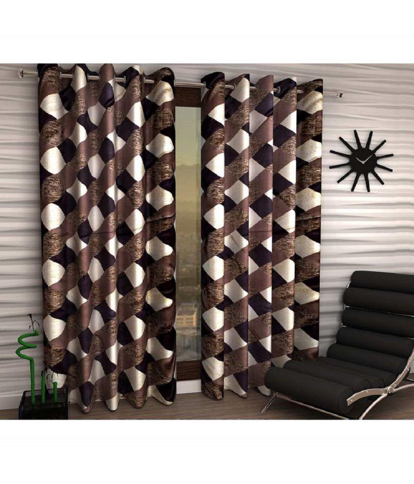 Geonature Set of 2 Long Door Semi-Transparent Eyelet Polyester Curtains Brown