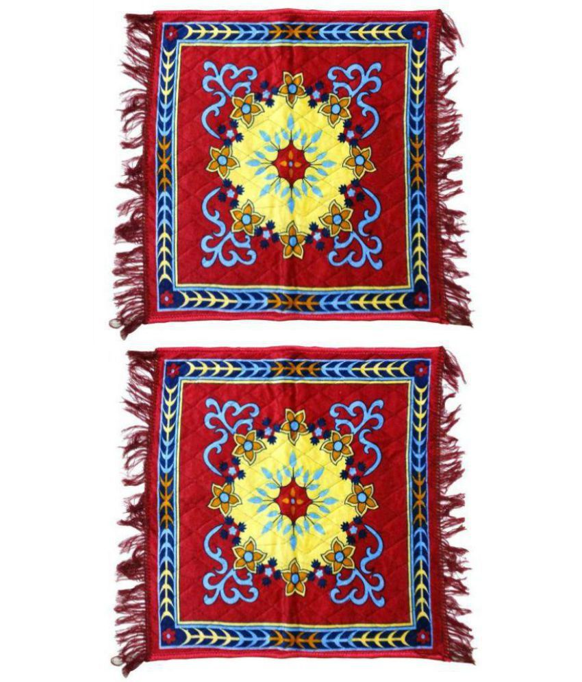 Velvet Pooja Aasan, Pooja Mat Pack of 2 Pc Red (2 Ft X 2 Ft)