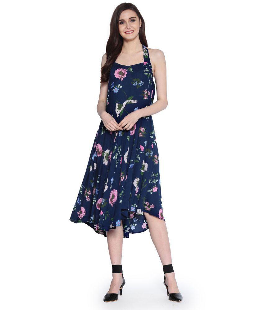 Abiti Bella Rayon Blue Fit And Flare Dress