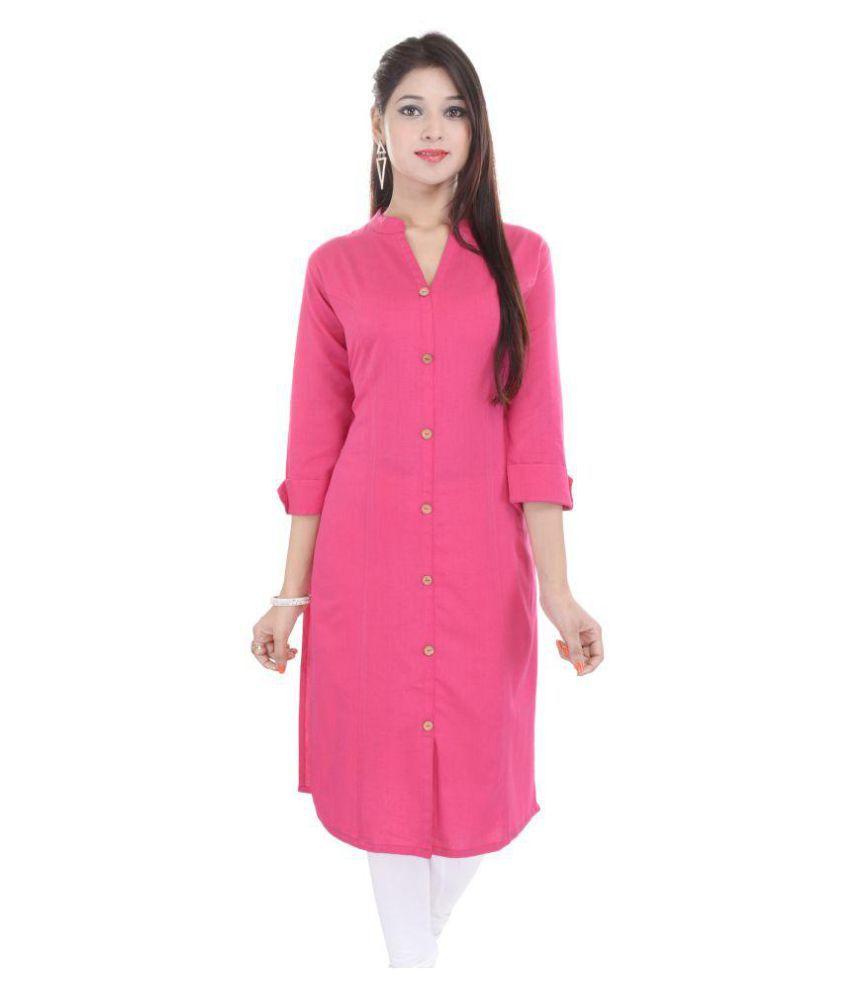 AVGARI CREATION Pink Cotton Front Slit Kurti