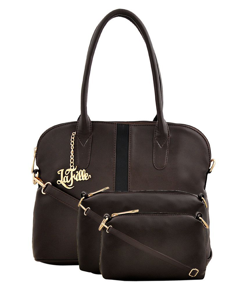 LaFille Brown Faux Leather Combo