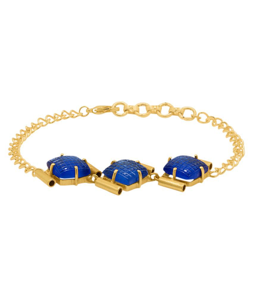 Voylla Blue Engraved Stone Studded Golden Bracelet
