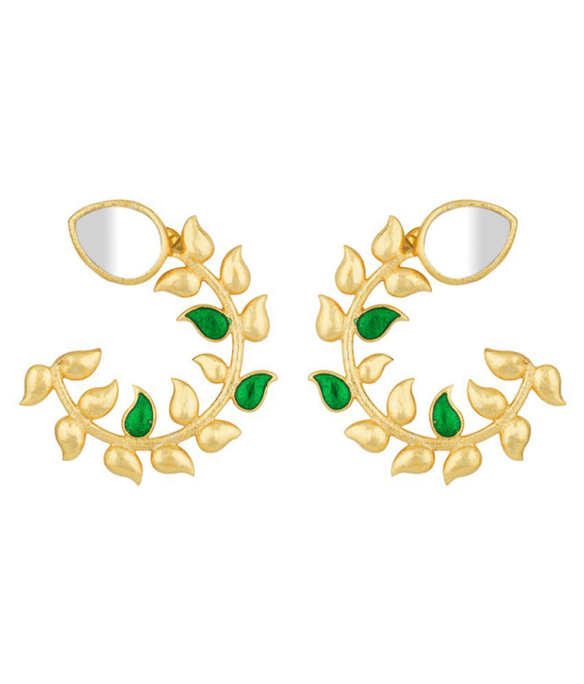 Voylla Gold-Plated Leafy Corolla Stud Earrings