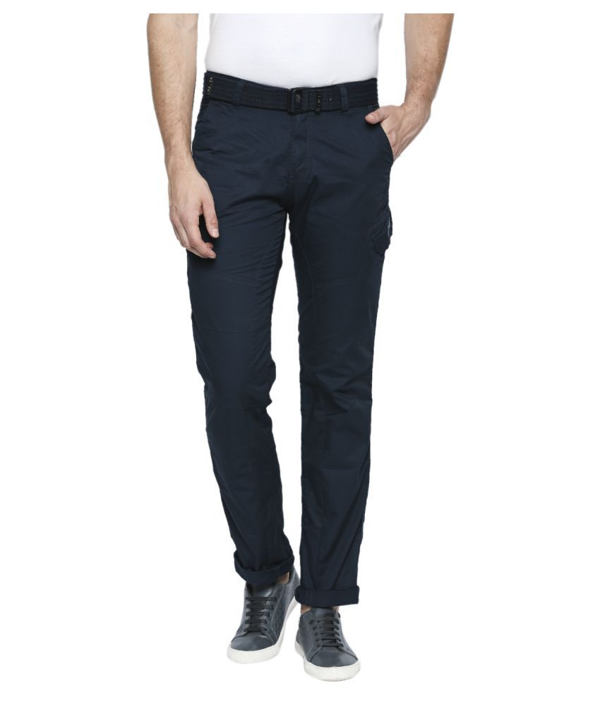 Beevee Navy Blue Regular -Fit Flat Cargos