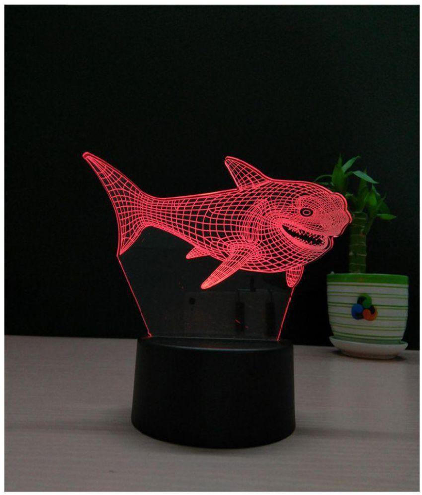 Ecodec Ocean World Shark 3D  Night Lamp Red - Pack of 1