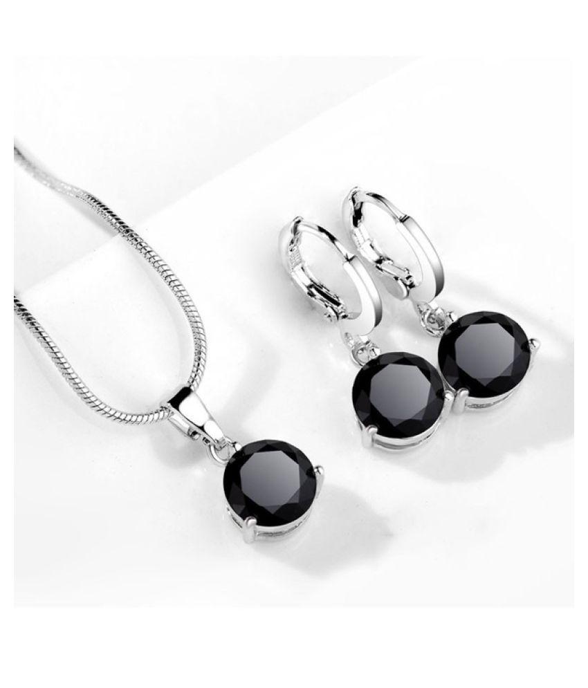Kamalife 1Set Fashin 3c  Silver Color Snake Necklace Hoop Earring Jewelry Set for Brides Bridal Bridesmaid Wedding Jewelry Sets White