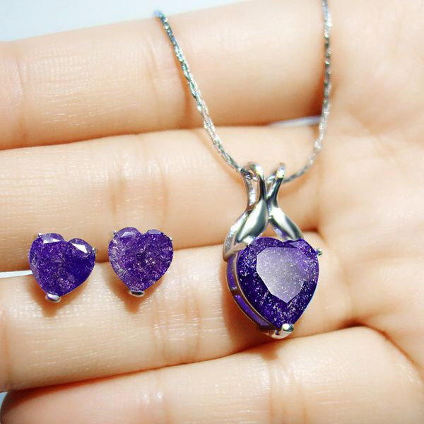 Kamalife Exquisite 925 Sterling Silver Heart Shaped Natural Blue/Purple Sapphire Crystal Pendant Necklace  and Stud  Earring Set