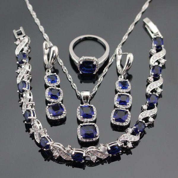 Kamalife Female Silver Bridal Jewelry Set Navy Blue Cubic Zirconia Necklace Pendant Bracelet Earrings Rings(Ring Size:9)