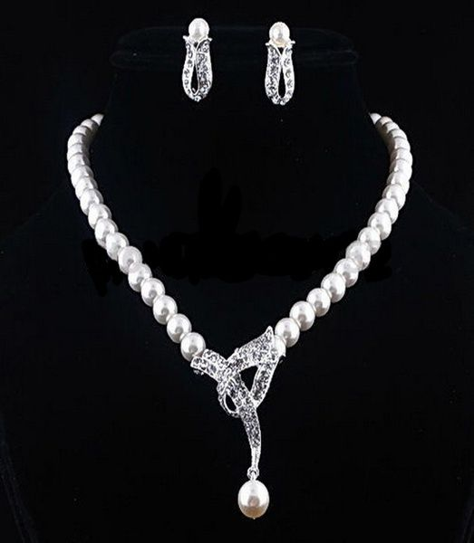 Kamalife Women's Faux Pearl Crystal Choker Necklace Earrings Jewelry Set For Wedding Party