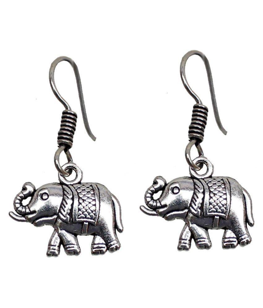 Lucky Jewellery Alloy Silver Elephant Design Earrings