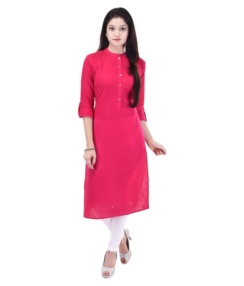Shop Rajasthan Pink Khadi Straight Kurti