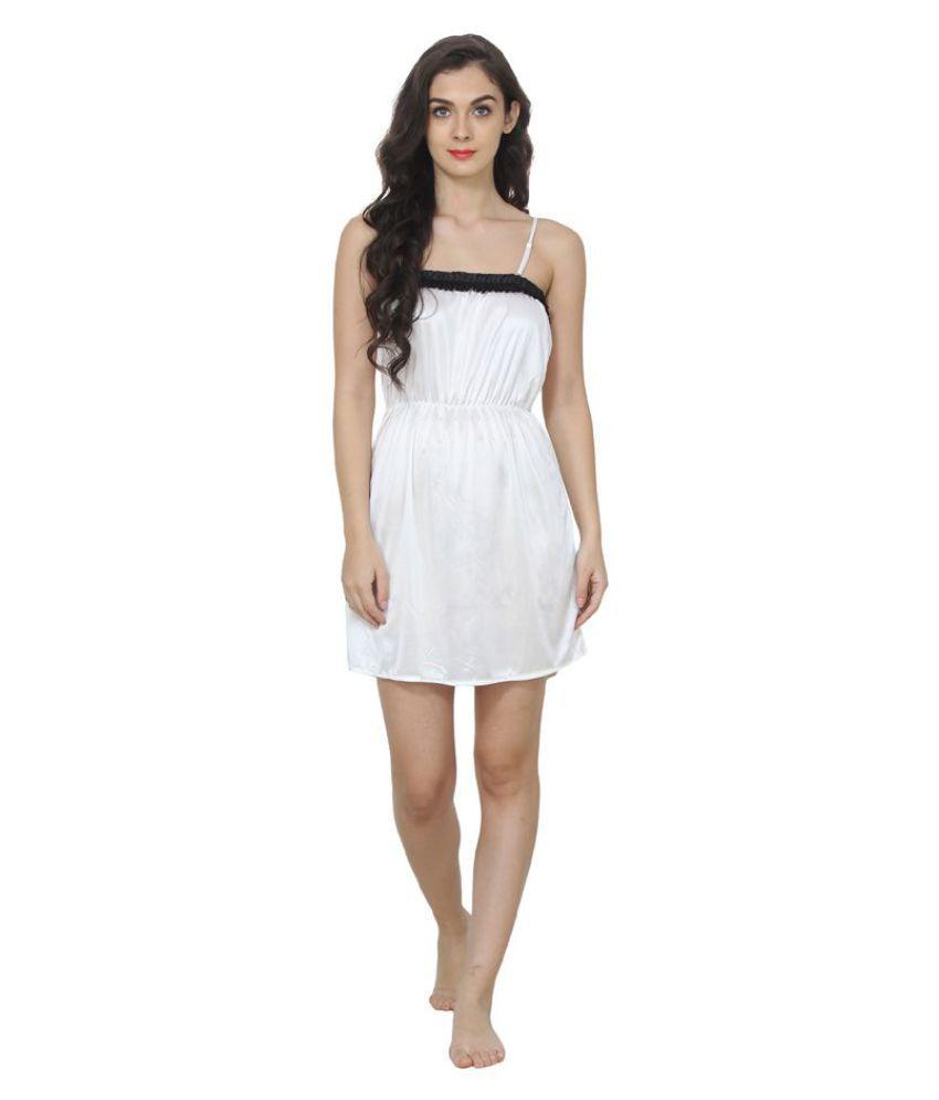 Affair Poly Satin Nighty & Night Gowns - White