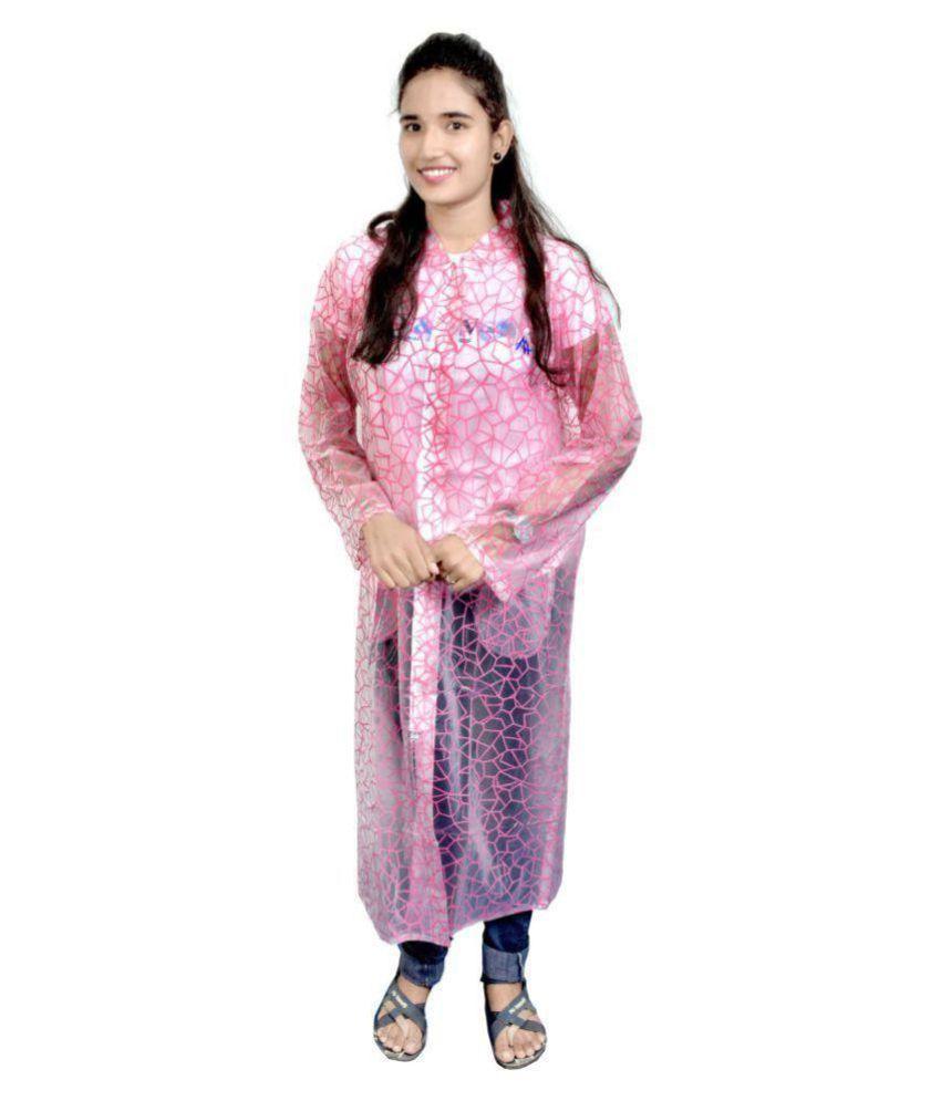 AD & AV Polyester Long Raincoat - Pink