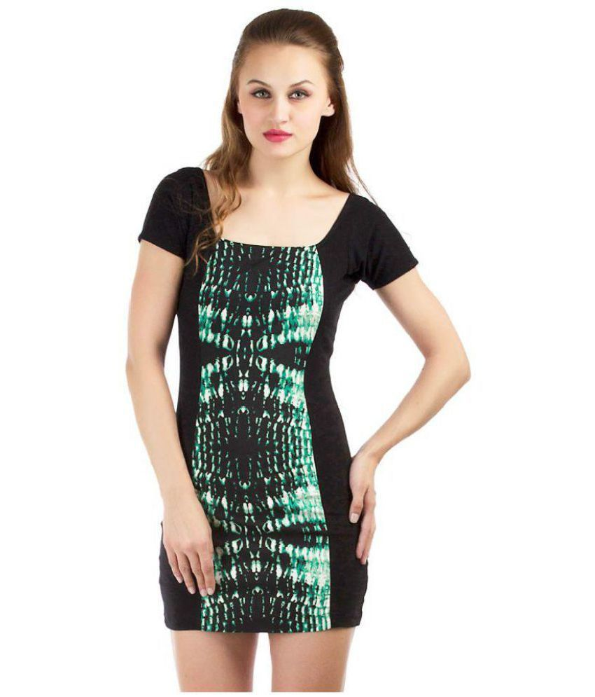 169866dd89f Dracht Cotton Lycra Black Bodycon Dress - Buy Dracht Cotton Lycra Black  Bodycon Dress Online at Best Prices in India on Snapdeal