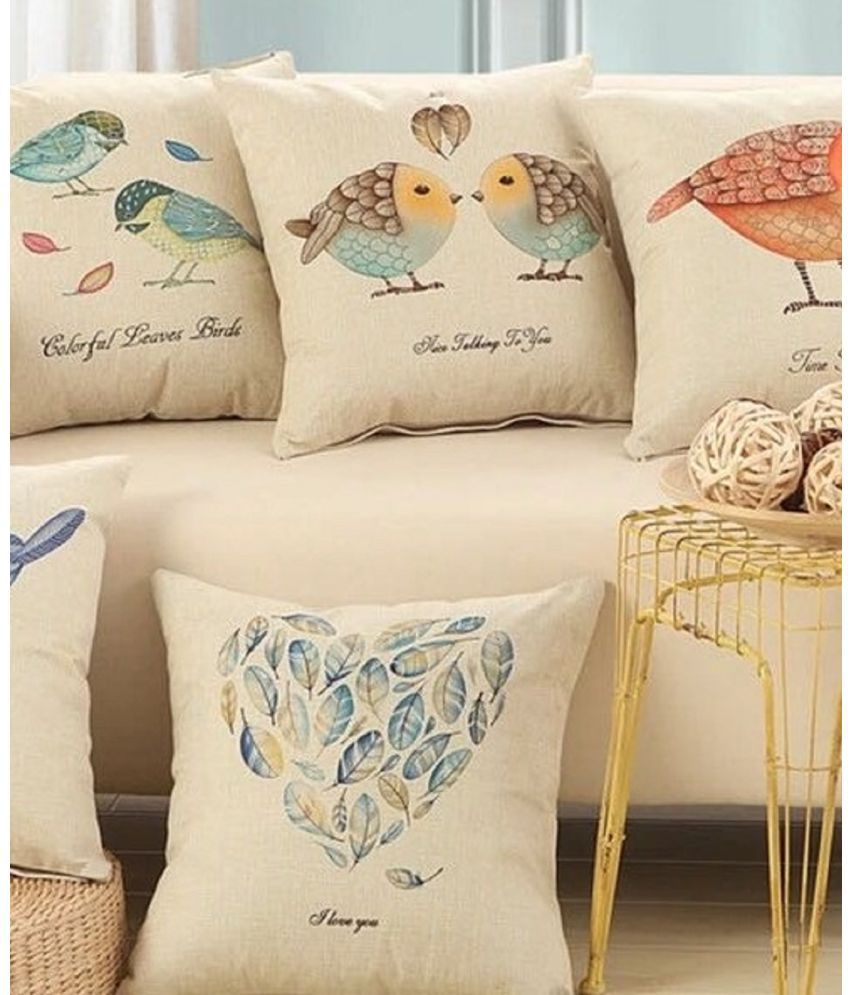 sawariya Textile Set of 5 Jute Cushion Covers 40X40 cm (16X16)
