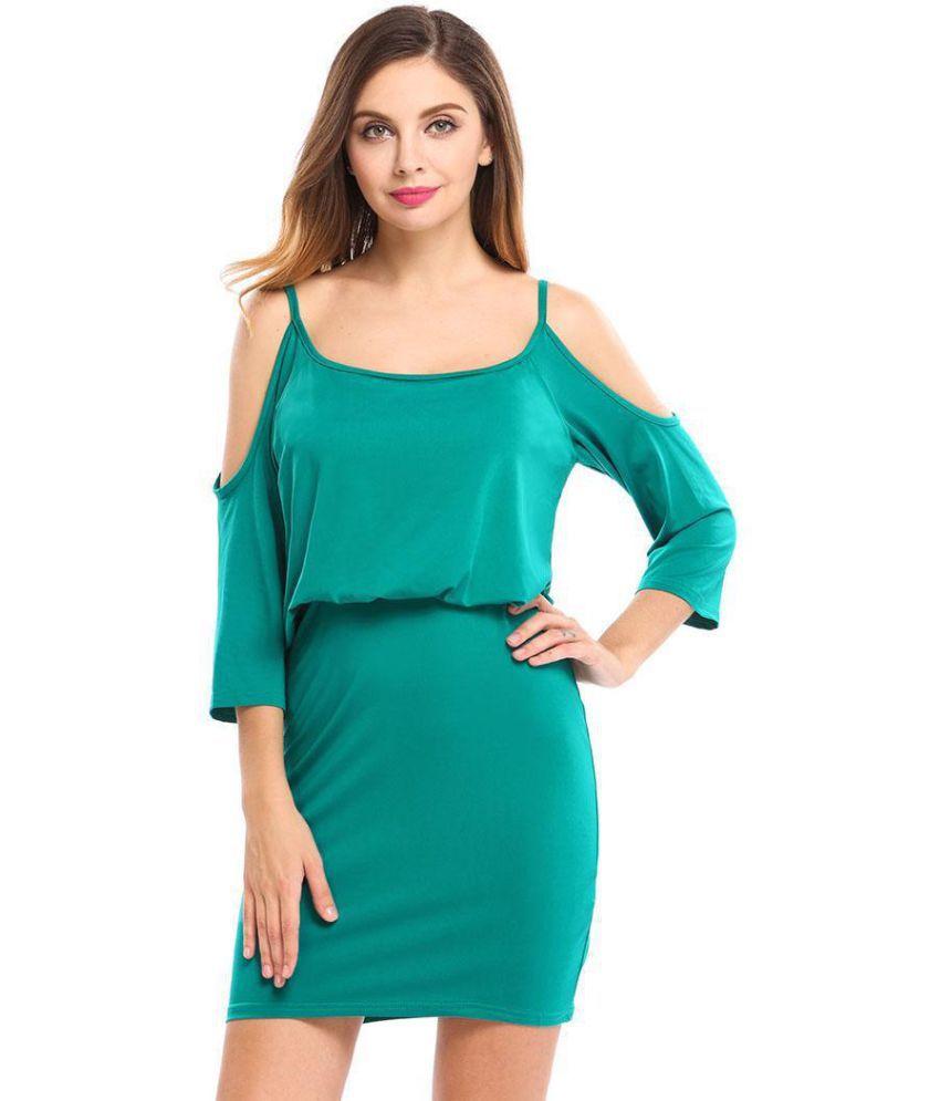 Generic Polyester green Asymmetric dress