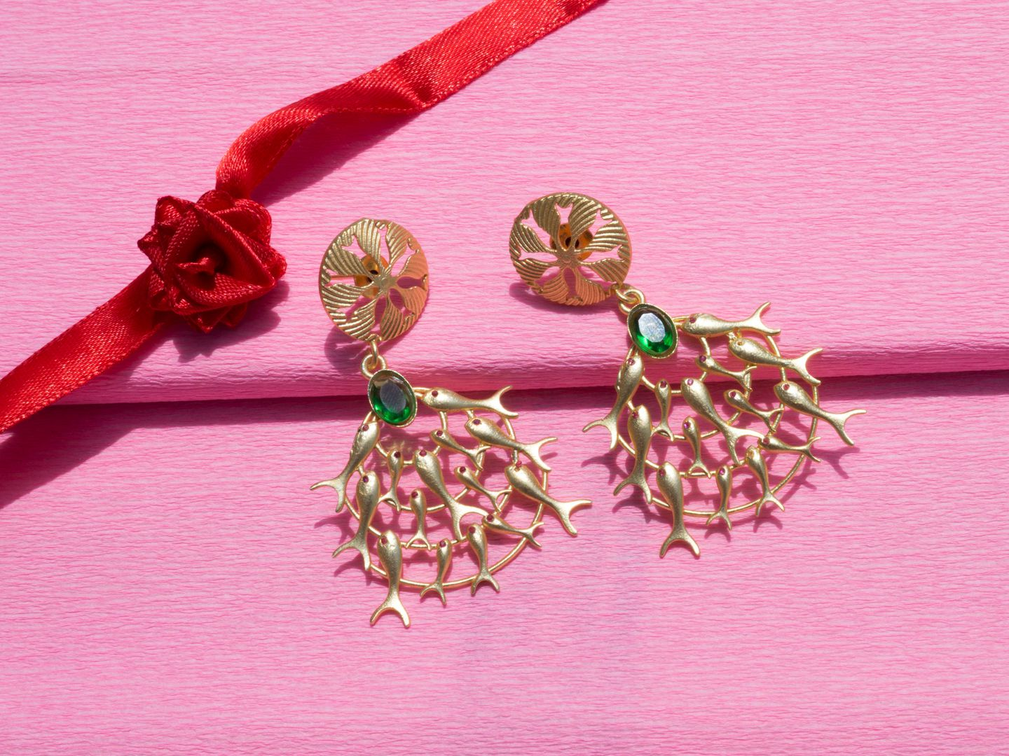 Gold Colour Plated Circular Green Earring for Women