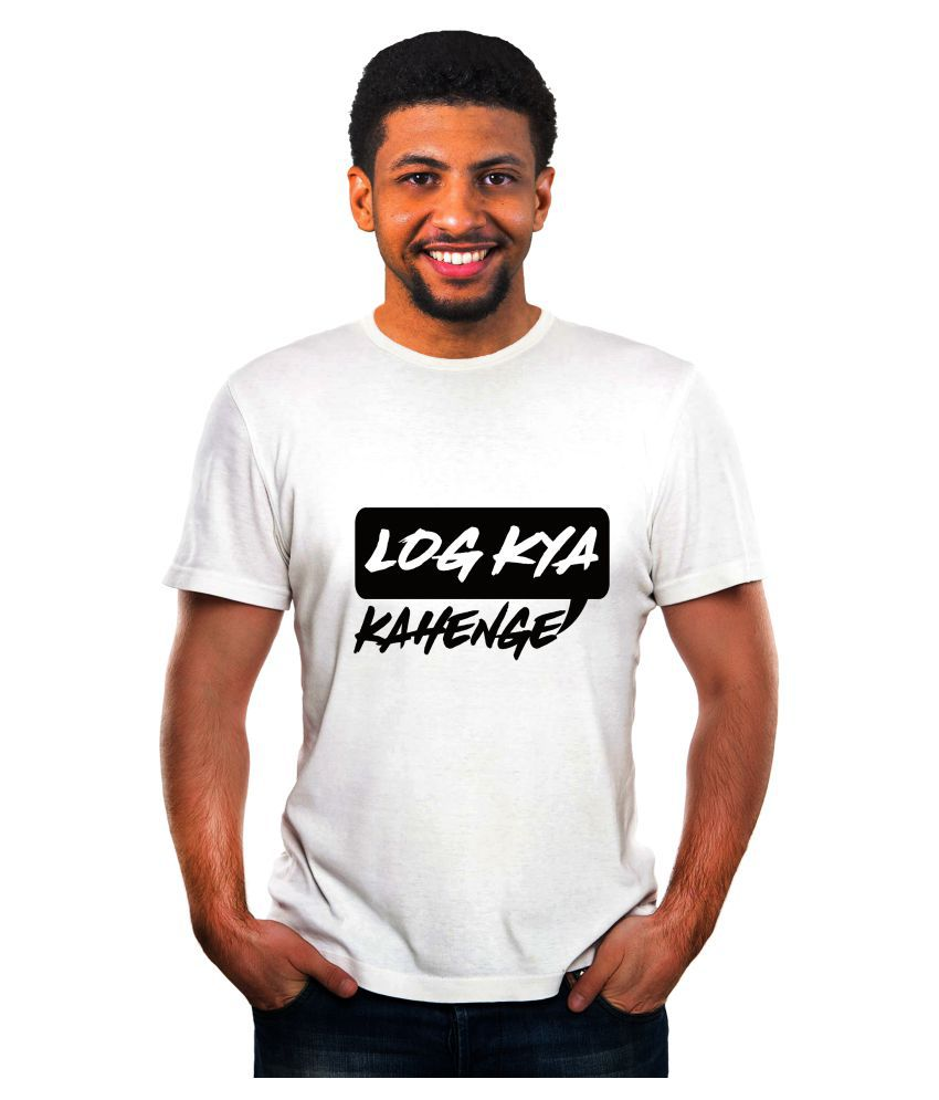 Ritzees Unisex Half Sleeve Dry Fit White Polyester T-Shirt on Log Kya Kahenge