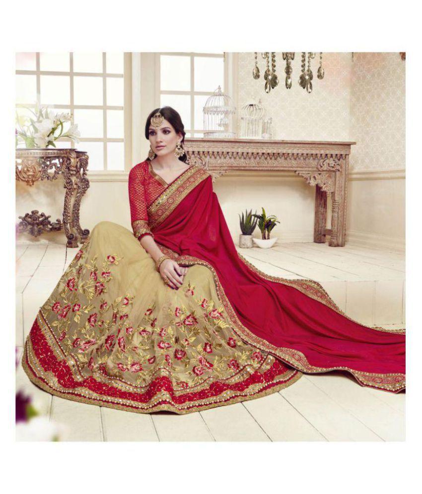 e71ce3ae9 SareeShop Designer SareeS Red and Beige Silk Saree - Buy SareeShop Designer  SareeS Red and Beige Silk Saree Online at Low Price - Snapdeal.com