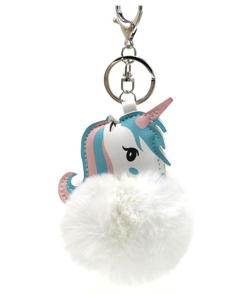 Cute Unicorn Soft Faux Fur Handbag Phone Car Pendant Girls Keychain Key Ring